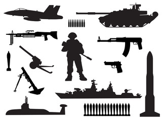 black and white silhouettes of armed forces