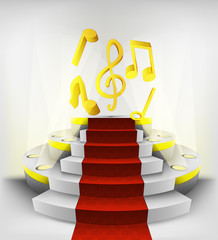 music exhibition on round illuminated podium vector