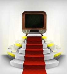 retro television exhibition on round illuminated podium vector
