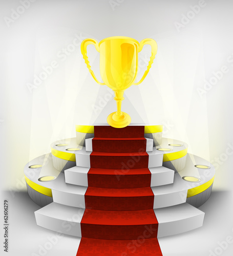 golden champion cup exhibition on round illuminated podium
