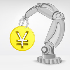 golden Yuan coin hold by automated robotic hand vector