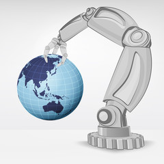 Asia earth globe hold by automated robotic hand vector