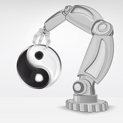 mind balance hold by automated robotic hand vector