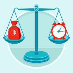 Time is money - vector concept in flat style