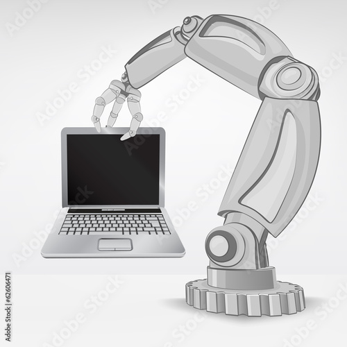 new laptop hold by automated robotic hand vector