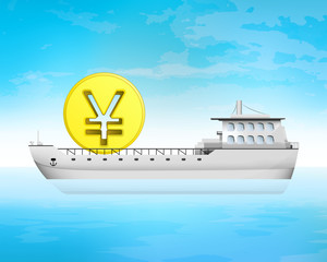 yuan coin cargo business on deck transportation vector