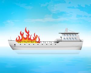 open fire on freighter deck transportation vector concept
