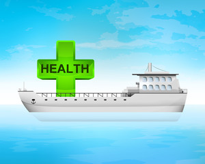 health green cross on freighter deck transportation vector