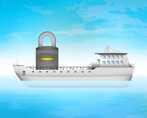 closed padlock on freighter deck transportation vector concept