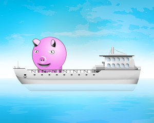 happy pig on freighter deck transportation vector concept