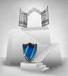 security shield on stairway with entrance top concept vector