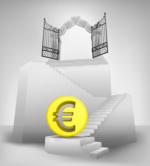 golden Euro coin on stairway with entrance top concept vector