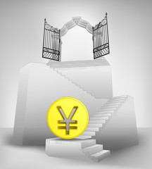 golden Yen coin on stairway with entrance top concept vector