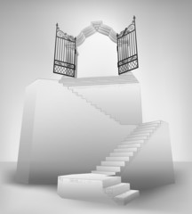 empty stairway with entrance top concept vector