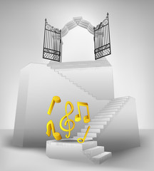 heaven music on stairway with entrance top concept vector