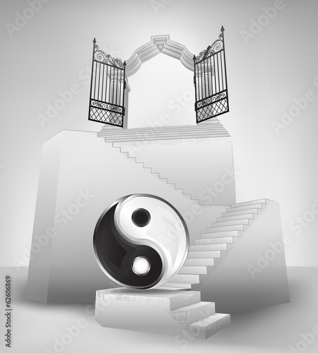 harmony symbol on stairway with entrance top concept vector