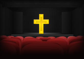 golden cross on the stage in theater interior vector