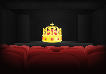 royal performance on the stage in theater interior vector