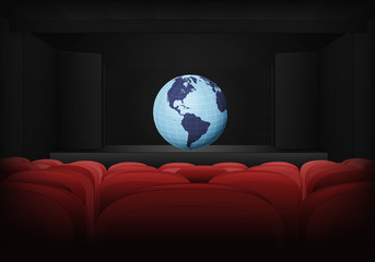 America earth globe on the stage in theater interior vector