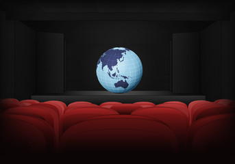 Asia earth globe on the stage in theater interior vector