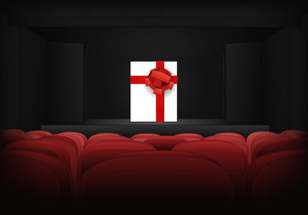 gift surprise on the stage in theater interior vector