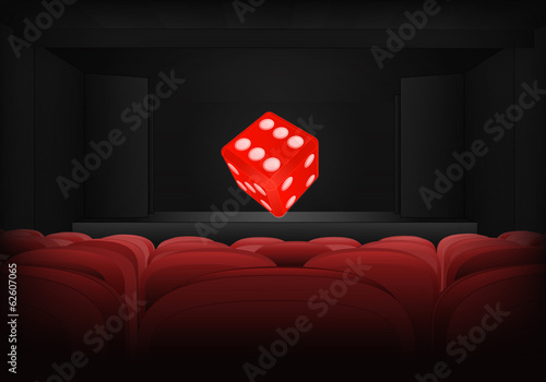 lucky dice on the stage in theater interior vector