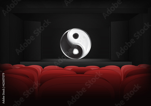 mind balance on the stage in theater interior vector