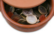 Ceramic pot full of Euro coins