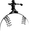Baseball Catcher on Top a Sytlized Ball