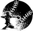 Baseball Catcher at Home Plate With a Grunge Ball