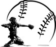 Baseball Catcher at Home Plate With Stylized Ball