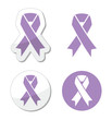 Lavender ribbon - general cancer awareness, epilepsy symbol