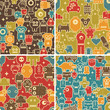 Set of seamless patterns with robots.