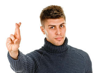 young man shows sign and symbol on white background