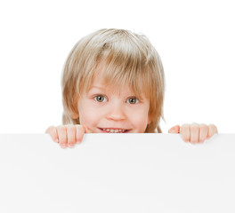 little boy with copy space desk on white background