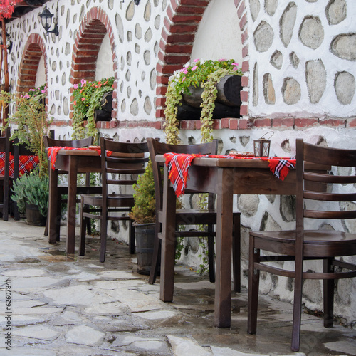 Traditional tables and chairs in Bansko, Bulgaria
