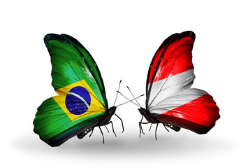 Two butterflies with flags Brazil and Austria