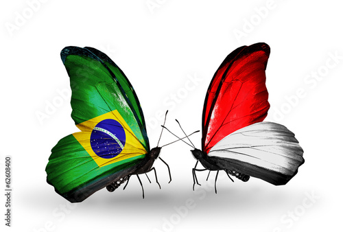 Two butterflies with flags Brazil and Monaco or Indonesia