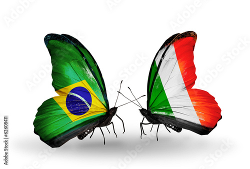Two butterflies with flags Brazil and  Ireland