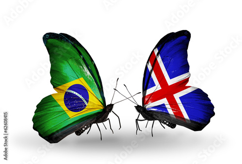 Two butterflies with flags Brazil and Iceland