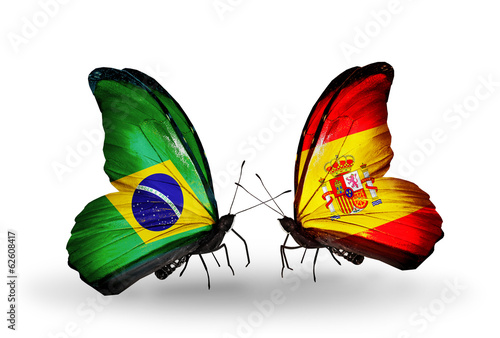 Two butterflies with flags Brazil and Spain