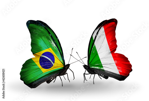 Two butterflies with flags Brazil and  Italy