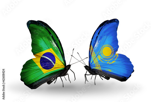 Two butterflies with flags Brazil and Kazakhstan