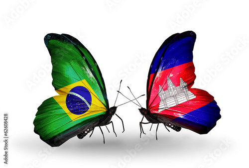 Two butterflies with flags Brazil and Cambodia