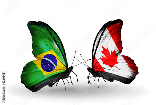 Two butterflies with flags Brazil and Canada