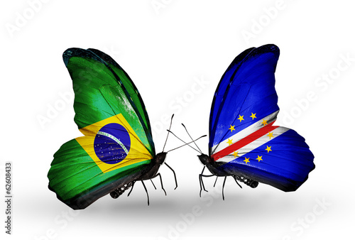 Two butterflies with flags Brazil and Cape Verde
