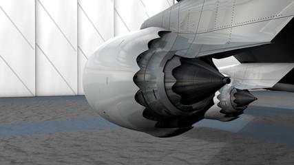 Turbine engine rear view.