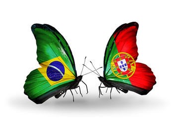 Two butterflies with flags Brazil and Portugal