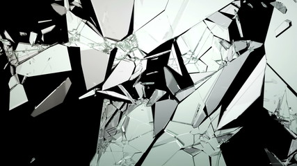 Broken and Shattered glass with slow motion. Alpha