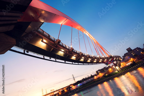 City night scenery with beautiful bridge